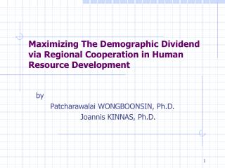 Maximizing The Demographic Dividend  via Regional Cooperation in Human Resource Development