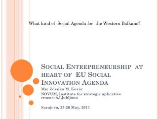 Social Entrepreneurship  at heart of  EU Social Innovation Agenda