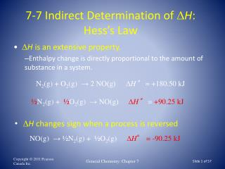 7-7 Indirect Determination of   H : Hess's Law