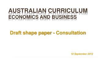 Australian Curriculum  Economics and Business