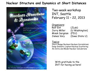 Nuclear Structure and Dynamics at Short Distances