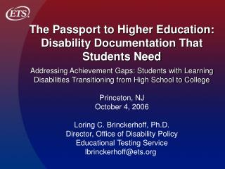 The Passport to Higher Education: Disability Documentation That ...