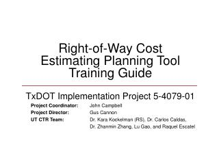Right-of-Way Cost Estimating Planning Tool Training Guide