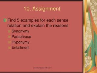 10. Assignment