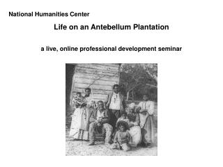 National Humanities Center Life on an Antebellum Plantation a live, online professional development seminar