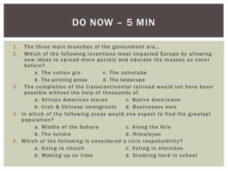 Do Now –  5 min