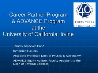 Career Partner Program   & ADVANCE Program at the University of California, Irvine