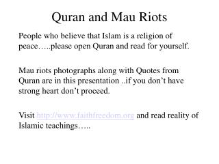 Quran and Mau Riots