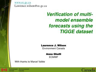 Verification of multi-model ensemble forecasts using the TIGGE dataset