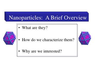 Nanoparticles:  A Brief Overview