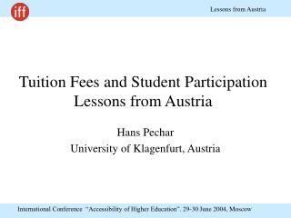 Tuition Fees and Student Participation Lessons from Austria