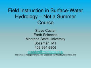 Field Instruction in Surface-Water Hydrology – Not a Summer Course