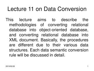 Lecture 11 on Data Conversion