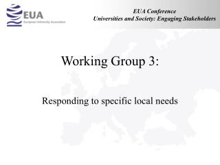Working Group 3: