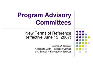 Program Advisory Committees