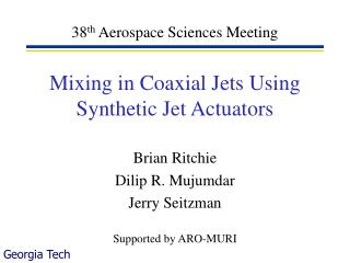 Mixing in Coaxial Jets Using Synthetic Jet Actuators