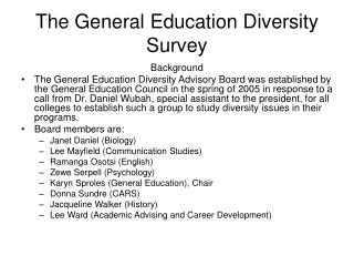 The General Education Diversity Survey