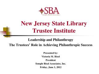 New Jersey State Library  Trustee Institute