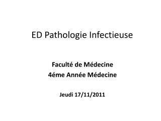 ED Pathologie Infectieuse