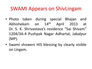 SWAMI Appears on  ShivLingam