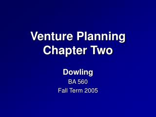 Venture Planning Chapter Two