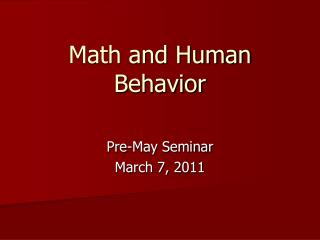 Math and Human Behavior
