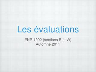 Les �valuations