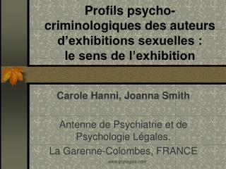 Profils psycho-criminologiques des auteurs d'exhibitions sexuelles :  le sens de l'exhibition