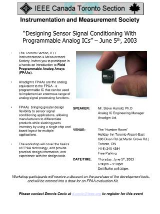 """Designing Sensor Signal Conditioning With Programmable Analog ICs"" – June 5 th , 2003"
