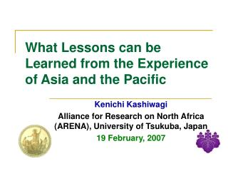 What Lessons can be Learned from the Experience of Asia and the Pacific