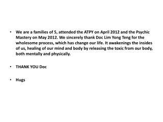 Thank You, Dr Yong!