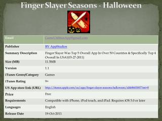 Finger Slayer Seasons - Halloween