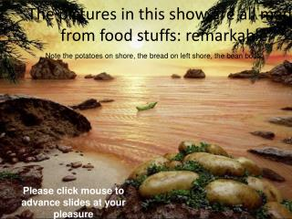 The pictures in this show are all made from food stuffs: remarkable