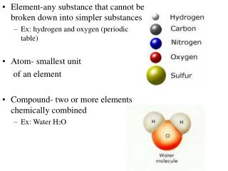 Element-any substance that cannot be broken down into simpler substances Ex: hydrogen and oxygen (periodic table) Atom-