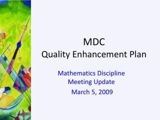MDC Quality Enhancement Plan