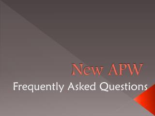 New APW