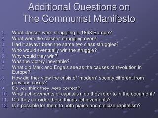 Additional Questions on The Communist Manifesto