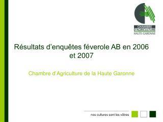 Résultats d'enquêtes féverole AB en 2006 et 2007