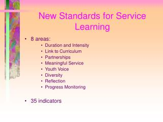 New Standards for Service Learning
