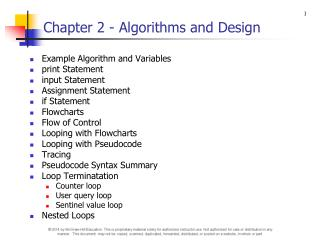 Chapter 2 - Algorithms and Design