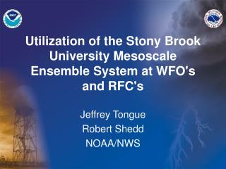 Utilization of the Stony Brook University Mesoscale Ensemble System at WFO's and RFC's