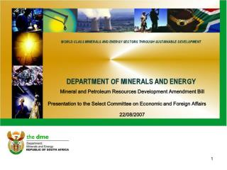 Mineral and Petroleum Resources Development Amendment Bill Presentation to the Select Committee on Economic and Foreign