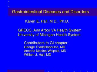 Gastrointestinal Diseases and Disorders