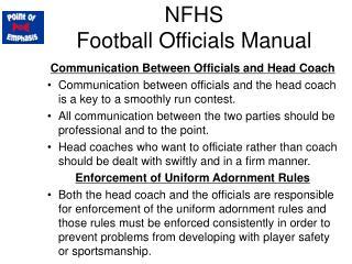 NFHS  Football Officials Manual
