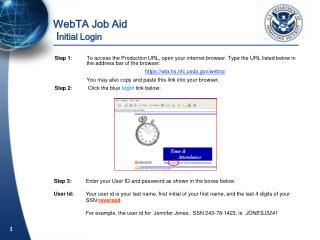WebTA Job Aid  I nitial Login