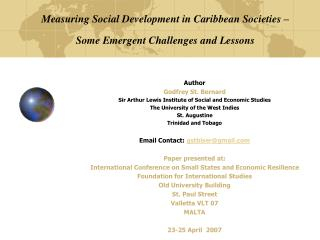 Measuring Social Development in Caribbean Societies – Some Emergent Challenges and Lessons