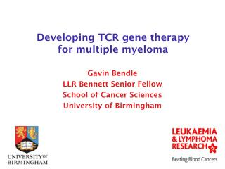 Developing TCR gene therapy  for multiple myeloma