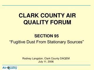 CLARK COUNTY AIR QUALITY FORUM