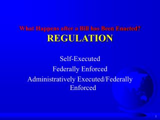 What Happens after a Bill has Been Enacted? REGULATION
