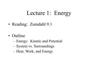 Lecture 1:  Energy